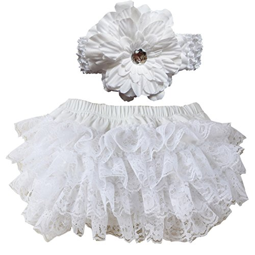 Wennikids Lace Ruffle Diaper Cover Bloomer and Headband Set for Baby Girls Small White