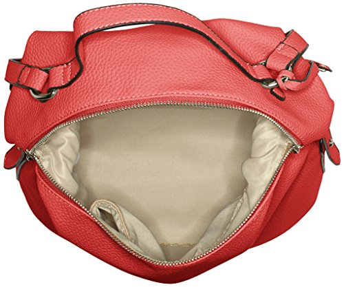 Buffalo Damen Bag S017-167a Leather Pu Schultertasche, 17x38x29 cm Rot (Red)