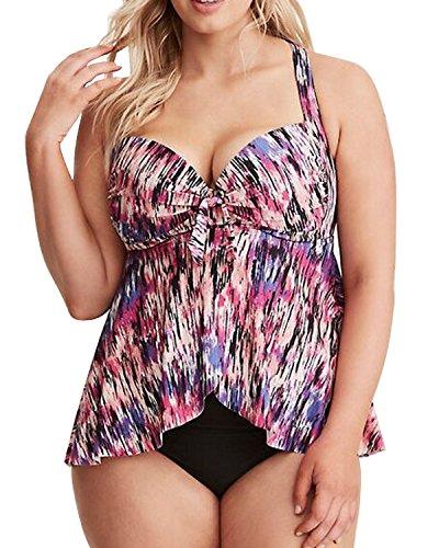 dad94f3b225 Women Two Piece Plus Size Vintage Striped Printed Wireless Padded Flyaway  Split Swimsuits Tankini Set Floral XXL