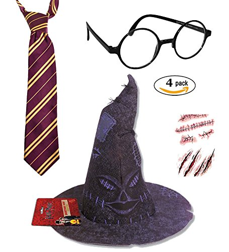 [Harry Potter Deluxe Costume Accessory- Tie, Glasses, Scar and Sorting Hat 4 Pack] (Harry Potter Woman Costumes)