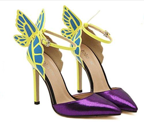 Schuhe Frauen VERKAUF HEISSER hohen purpurrotes auf der Heels Klassische Sandalen High beschuht wies Purpur Schmetterlingsflügel Ferse wU074Xxq