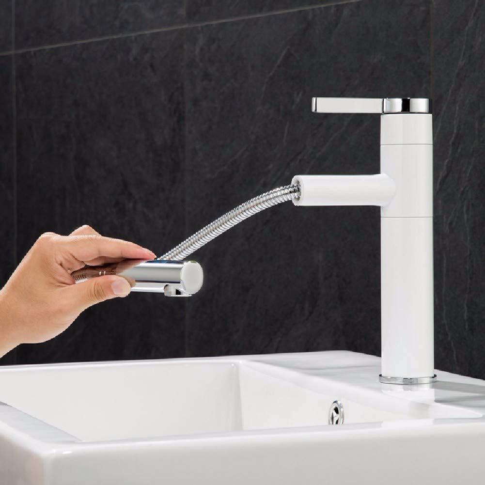 JingJingnet 洗面器の混合栓の浴室の流しのコックの銅の熱く、冷たい回転式引きの洗面器の蛇口 (Color : E) B07RVHSDJ1 E