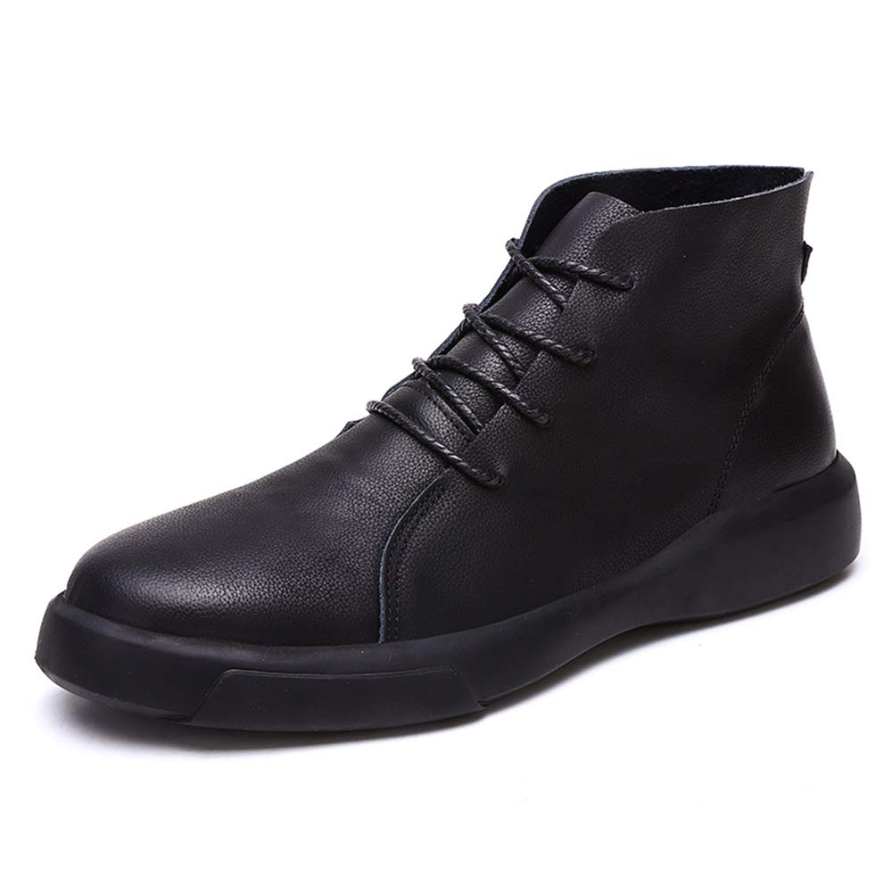 Black XIANGBAO-Personality Men's Fashion Ankle Work Boot Superficial Retro color Brush Winter False Fleece Inside High Top Boot(Conventional Optional)