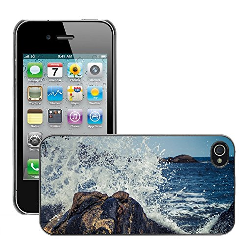 Stampato Modelli Hard plastica Custodie indietro Case Cover pelle protettiva Per // M00421587 Waves Splash Crashing Rock Water // Apple iPhone 4 4S 4G