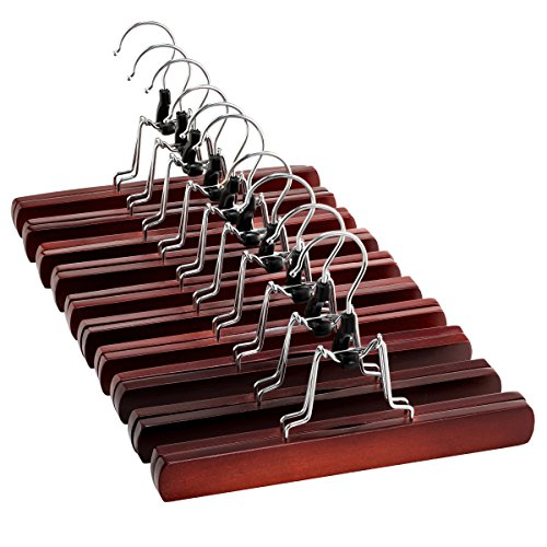 Clothing Suit Extra Short - High-Grade Wooden Pants Hangers with Clips 10 Pack Non Slip Skirt Hangers, Smooth Finish Solid Wood Jeans/Slack Hanger with 360° Swivel Hook - Pants Clip Hangers for Skirts, Slacks - Clamp Hangers