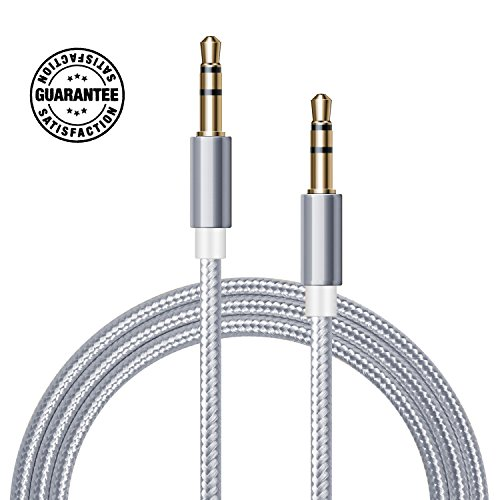 AUX Cable (Silver / Grey) - 3FT 1M Nylon Braided 3.5mm Gold Plated Connector Hi-Fi Sound Quality for Car, Home, Stereos, iPod, iPhone, Samsung, Speaker, Headphones, and More Gray Pistis