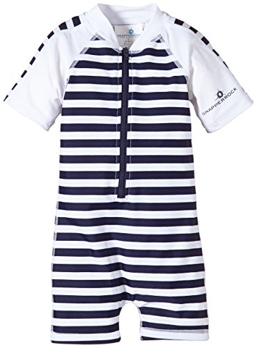 Snapper Rock Baby Boys' Zippered One Piece Short Sleeve Sun Suit, Navy White Stripe, 0 6 Months by Snapper Rock