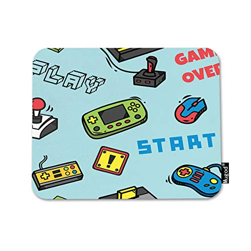 Mugod Gamer Devices Mousepad Video Game Backdrop Button Cartridge Controller Design Print Anti-Slip Natural Rubber Gaming Mouse Pad Rectangle Mouse Pads for Computers Laptop 7.9x9.5 Inches