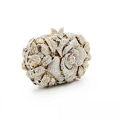 Femenino De Lujo Bolso De Tarde Embrague Cristal Diamantes Bolso OneColor