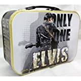 Only One Elvis Dressed in Black Tin Tote Bag with Handle - Yellow Trim