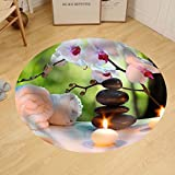 Gzhihine Custom round floor mat Massage Composition Spa with Candles Orchids Stones in Garden