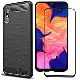 MYLB Compatible for Samsung Galaxy A10e case,with Full Coverage Screen Protector.(2 in 1) Fashion Soft TPU Shockproof Case with Samsung Galaxy A10e Glass Screen Protector (Black)
