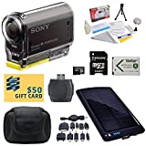 Sony HDR-AS30V HD POV Action Camcorder with 47stPhoto Ultimate Accessory Kit Includes - 32GB High-Speed Micro SD Card + Card Reader + NP-BX1 1400mAh Li-ion Battery + Hard Shell Carrying Case + Solar Battery Charger/ Backup + Lens Cleaning Kit including LC