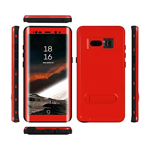 Samsung Galaxy Note 8 Waterproof Case, Shockproof Dustproof Snowproof Full-body Underwater Protective Box Rugged Cover with Kickstand and Built in Screen Protector for Galaxy Note8 (RED) (Std Bumper Rear)