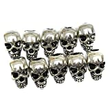 ULTNICE Skull Spacer Beads for DIY Necklace Bracelets Earrings (Silver 30pcs)