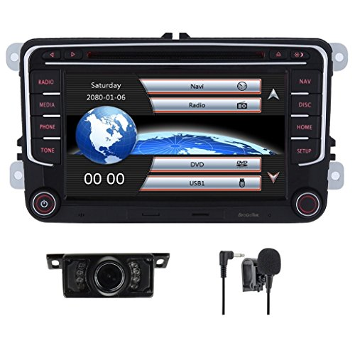 Volkswagen Rabbit Wagon - Car Stereo HD 8 Inch Double 2 Din GPS Navigation DVD auto Audio Video for VW Golf Passat Tiguan Polo Jetta Skoda Seat EOS+US Map+Camera+Mic Capacitive Screen (7 Inch)