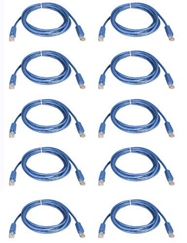 BattleBorn 10 Pack Lot - 6ft Cat5e Cat5 Ethernet Network LAN Patch Cable Cord RJ45 - Blue