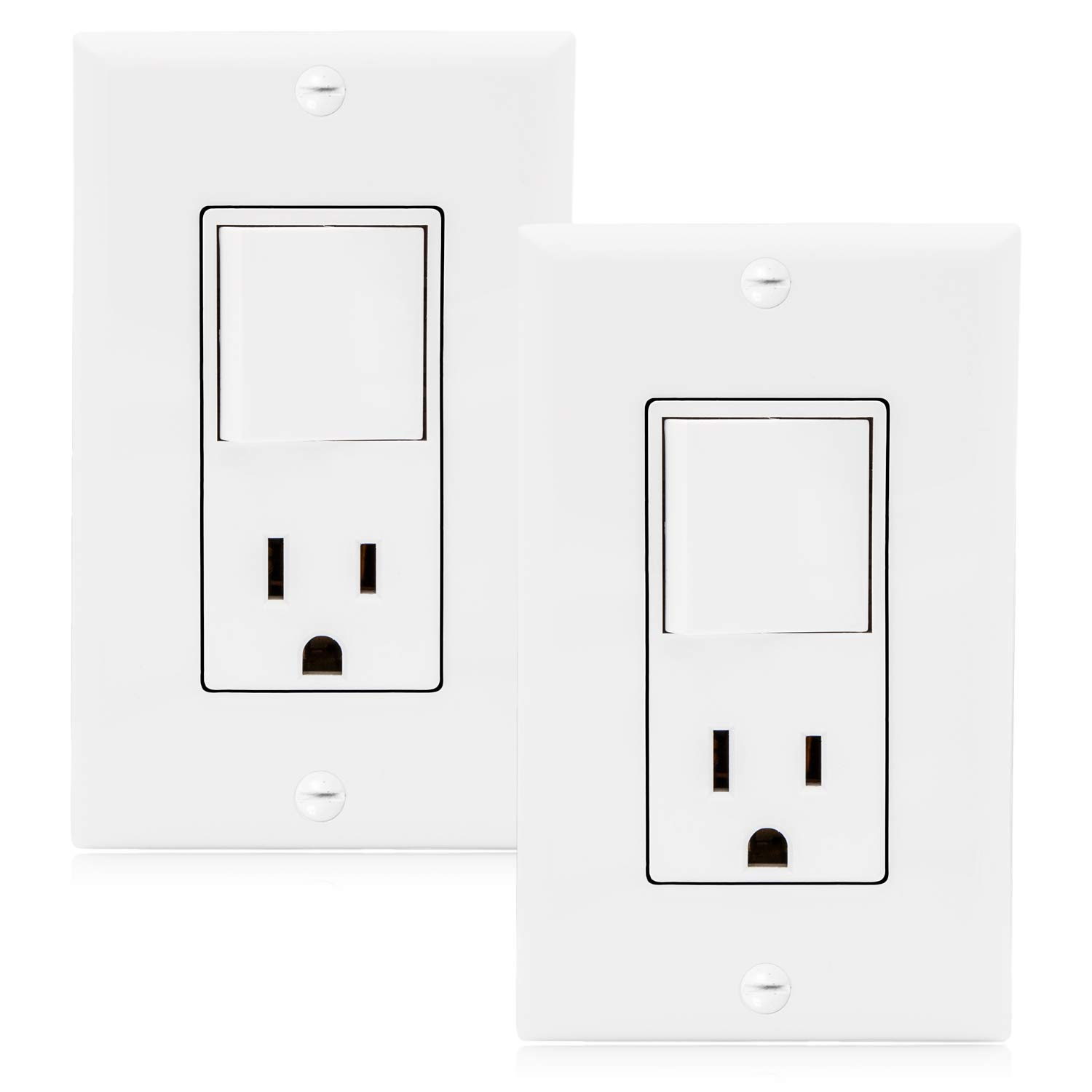 Maxxima Single Pole Combination Rocker Light Switch and Outlet, White, Wall Plates Included (2 Pack) by Maxxima