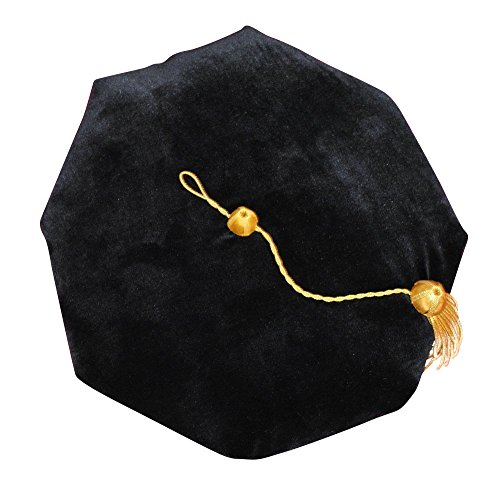 Newrara Doctoral Tam Black Velvet 8-Sided W/Gold Bullion Tassel One Size Fits Most