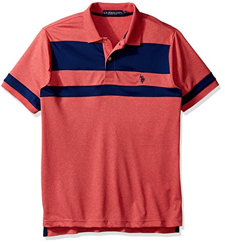 (U.S. Polo Assn. Men's Color Blocked Short Sleeve Classic Fit Shirt, 8267-Winning Red, M)