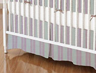 product image for SheetWorld 100% Cotton Percale Crib Skirt 28 x 52, Pink Dual Stripe, Made in USA