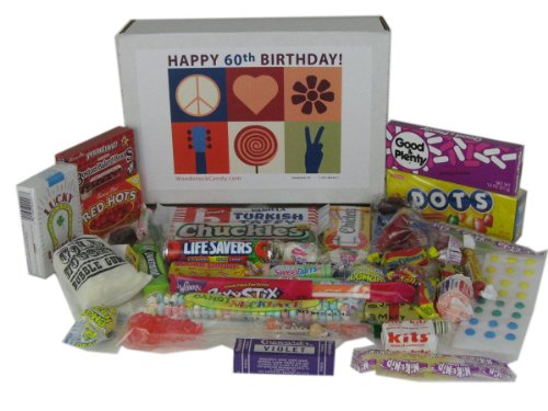 Woodstock Candy 60th Birthday Gift Box of Retro Candy from Childhood - Peace, Love and Happiness