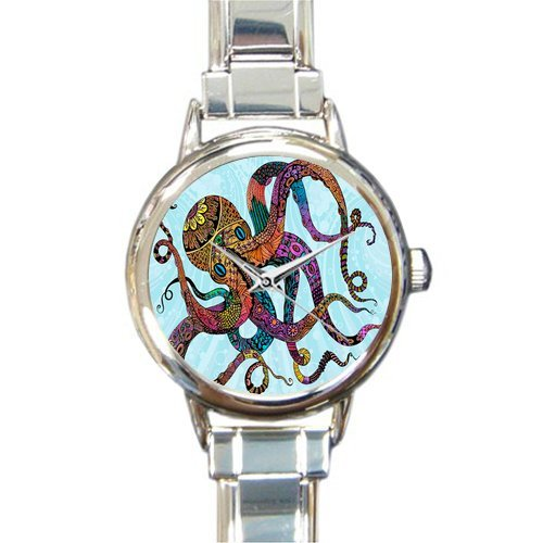 Personalized Watch Coloful Octopus Art Round Italian Charm stainless steel Watch