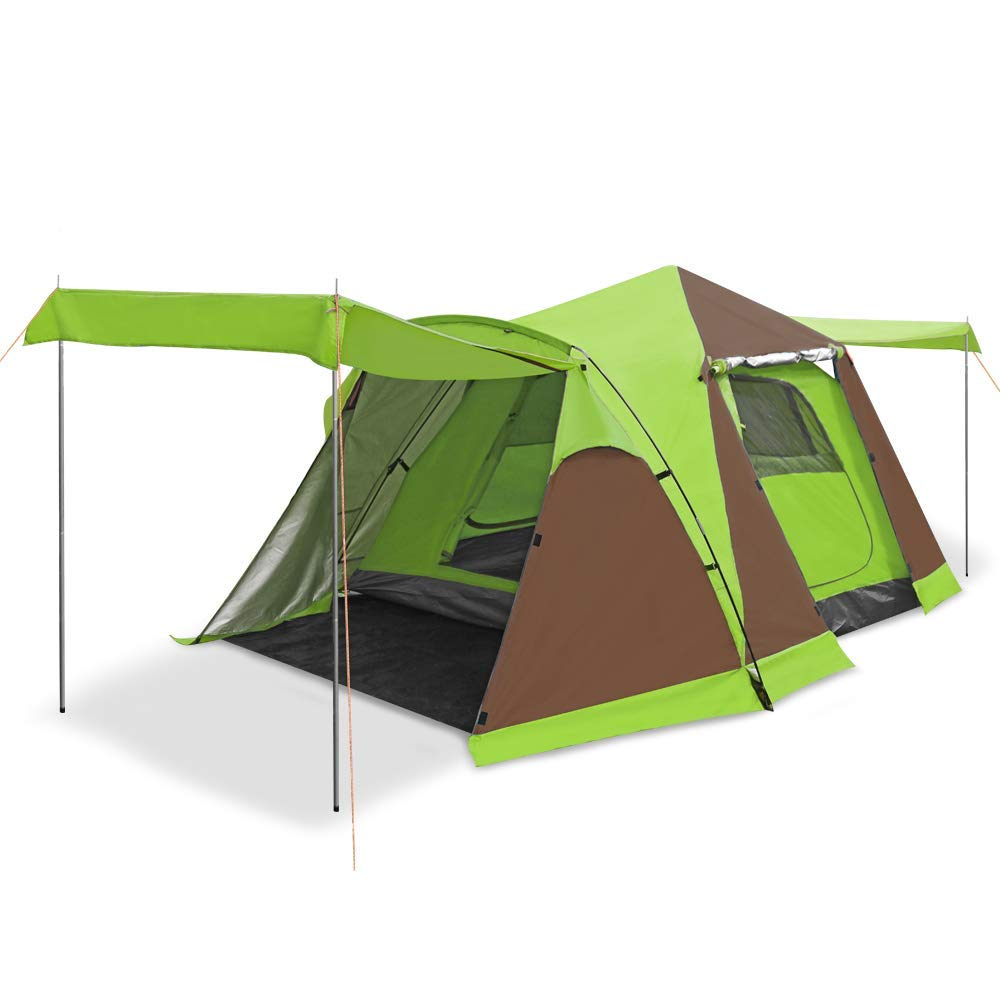 Sesame Star 3-4 Person Four-Door Automatic Tent with Snow Skirt Instant Pop Up Camping Tent (Green) [並行輸入品] B07R4TVZ2J