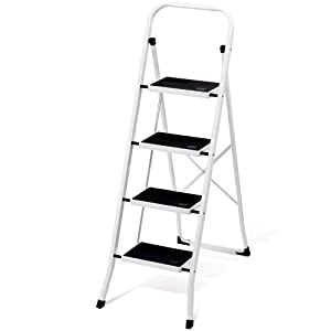 Delxo Folding 4 Step Ladder with Convenient Handgrip Anti-Slip Sturdy and Wide Pedal 330lbs Portable Steel Step Stool White and Black 4-Feet