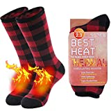 Thermal Hiking Socks, Sunew Winter Work Heavy Extra Warm Mid-calf Socks for Cold Weather, Heavily Brushed Fuzzy Heated Skiing Socks for Men Women, Indoor Slipper Socks, 1 Pair Red&Black Plaid Large