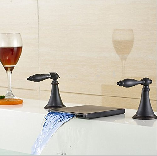 GOWE LED Oil Rubbed Bronze Waterfall Bathroom Basin Faucet Dual Handles Sink Mixer 1