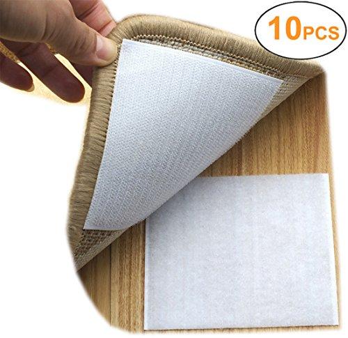 Yorwe Rug Anchors Carpet Hook and Loop Non-Slip Mat Anti-Skid Stickers Square (10PCS, White)
