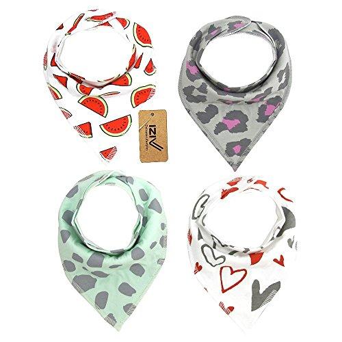 iZiv Baberos del Bebé - Paquete de 4 Diseños Pañuelo con Snaps Ajustables, TPU Impermeable Guarnición para niño 0-2 años (Color-5) Color-3