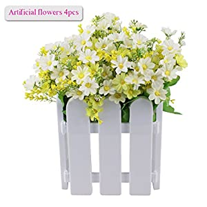 Artificial Flowers, Meiwo 4 Bunches with 28 Branches and 112 Daisy Flowers for Home Decor, Parties, Offices, Restaurants(Green-White) 6
