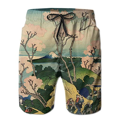 Men's Hokusai Japan Ink Cherry Blossom Mount Fuji Fashion Beach Pant Tide Stamp Shorts X-Large -
