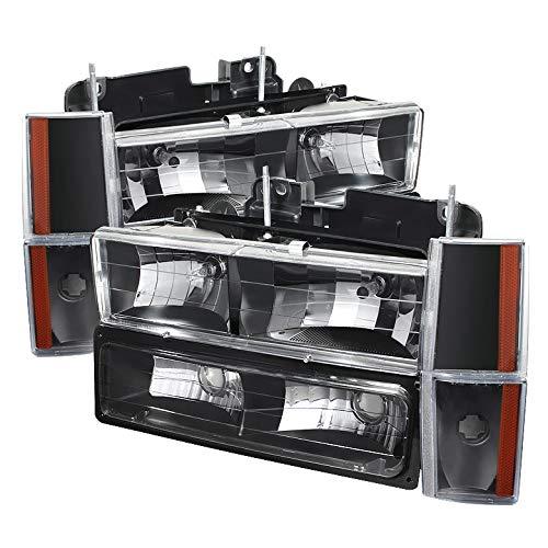 For 1988-1993 C/K Truck Black Headlights + Corner Lights + Parking Lights Combo Set Pair Left+Right 1989 1990 1991 1992