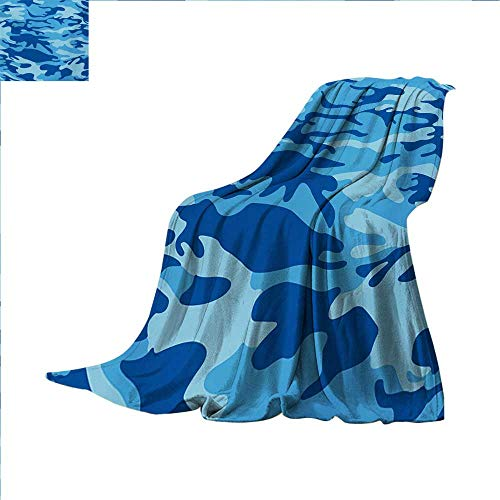 Camouflage Digital Printing Blanket Abstract Camouflage Costume Concealment from The Enemy Hiding Pattern Summer Quilt Comforter 62 x 60 inch Pale Blue Navy Blue]()