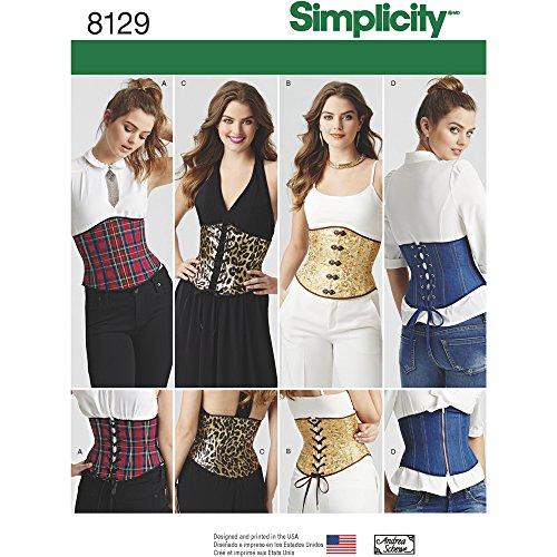 Simplicity Creative Patterns 8129 Misses' Easy Waist Cincher Corsets, H5 (6-8-10-12-14)