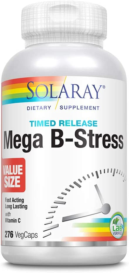 Solaray Mega Vitamin B-Stress, Two-Stage Timed-Release | Specially Formulated w/B Complex Vitamins for Stress Support | Non-GMO | Vegan (276 CT)