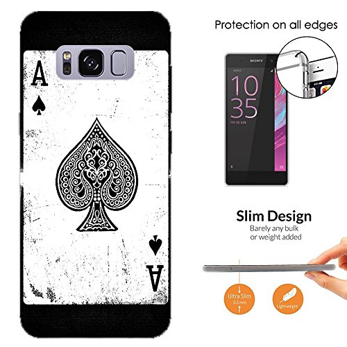 Samsung Blackjack Phone Covers (001598 - Ace Of Spades Playing Cards Casino Poker Black Jack Samsung Galaxy S8+ Plus CASE Slim Light All Edges Protection Cover)