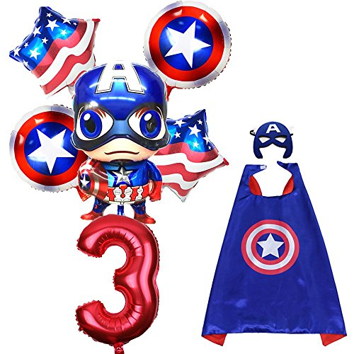 CuteTrees Super Hero Captain America 3rd birthday party balloons party supplies party decoration birthday decorations and super hero cape and felt mask and number balloons 8 pcs by CuteTrees