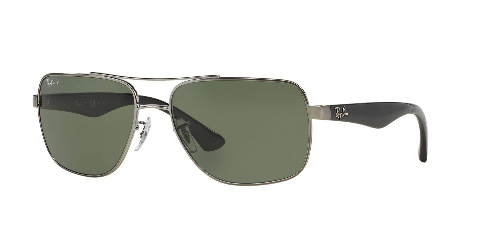RAY-BAN Men's RB3483 Square Metal Sunglasses, Gunmetal/Green, 60 mm by RAY-BAN