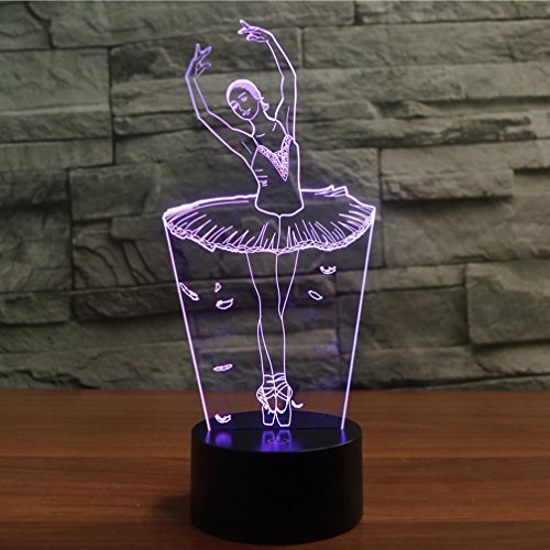 Cheap Ballet Dancer Girl 3D Illusion Lamp Night Light 7 Colors Change Night Light Touch Button Creative Design Decorative Lighting Effect Lamp