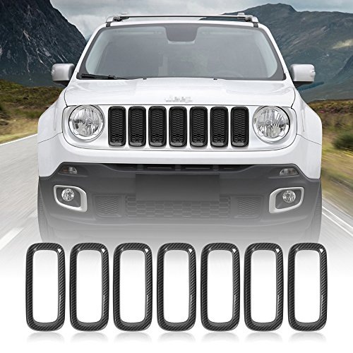 (JeCar 7pcs Front Grille Trim Inserts Grill Cover For Jeep Renegade 2015 2016(Carbon))