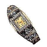 Creazy Women Quartz Luxury Crystal Flower Bracelet Watch (Grey)