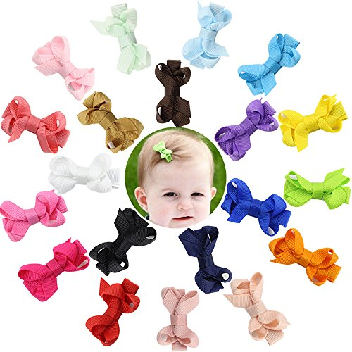 "DEEKA 20 PCS Multi-colored 2"" Hand-made Grosgrain Ribbon Hair Bow Alligator Clips Hair Accessories for Little Girls"