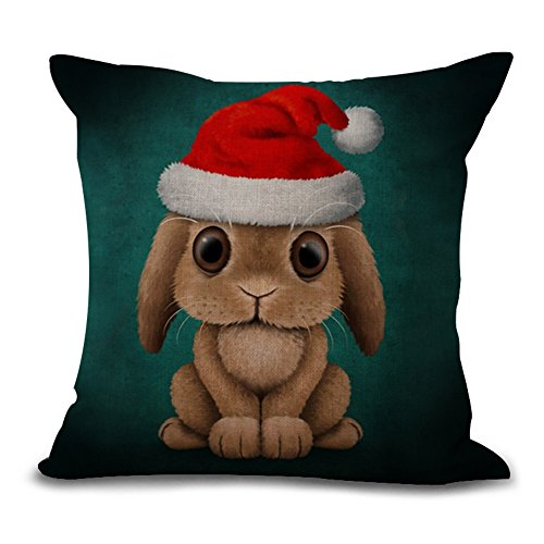 (Aremetop Xmas Pillow Cases Lovely Animals Rabbit Baby Wearing Christmas Hat Cotton Linen Home Decor Pillowcase Throw Pillow Cushion Cover 18 x 18 Inches,Jasper)