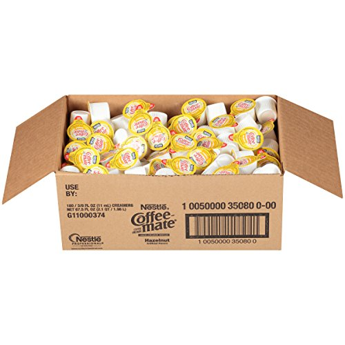 NESTLE COFFEE-MATE Coffee Creamer, Hazelnut, liquid creamer singles, 180 Count (Pack of 1)