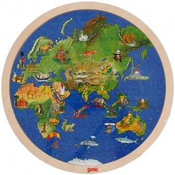 Goki Juego de Mesa Puzzle Educativo DE Madera Doble Cara 57 Piezas Modelo EL Mundo Niños +6 años: Amazon.es: Juguetes y juegos