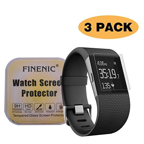 FINENIC Compatible with Fitbit Surge smartwatch [3 Pack] Screen Protector [ 9H Tempered Glass] [No White Edge][Easy-Install] (Best Screen Protector For Fitbit Surges)